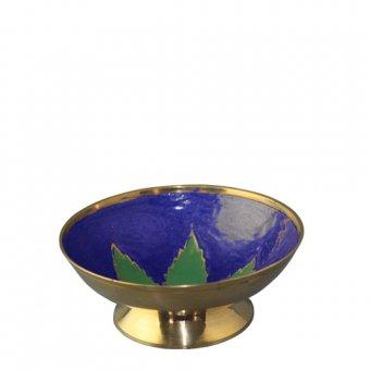 Brassbowle With Leaf-10cm-high