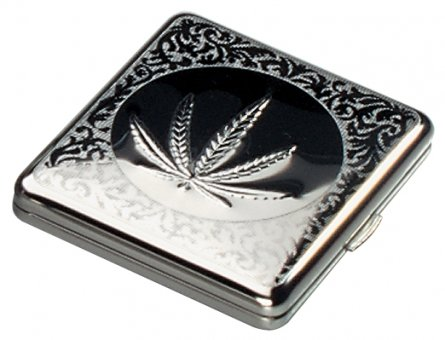 MetalcigaretteBox-Leaf 8,5/1,5/9cm